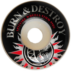 Spitfire Burn & Destroy Skateboard Wheels - White- 53mm 99a (Set of 4)