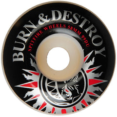 Spitfire Burn & Destroy Skateboard Wheels - White- 58mm 99a (Set of 4)