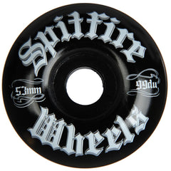 Spitfire Por Vida Skateboard Wheels - Black - 53mm 99a (Set of 4)
