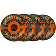 Spitfire Formula Four Radial Slim Speed Kills Skateboard Wheels - Orange/Green - 53mm 101a (Set of 4)