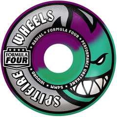 Spitfire Formula Four Radial Swirl Skateboard Wheels - Purple/Mint - 54mm 101a (Set of 4)