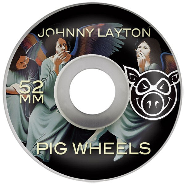 Pig Johnny Layton Heaven & Hell Skateboard Wheels 52mm 101a - White (Set of 4)