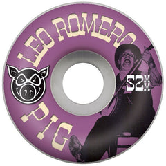 Pig Leo Romero Uncle Dave Skateboard Wheels 52mm 101a - White (Set of 4)