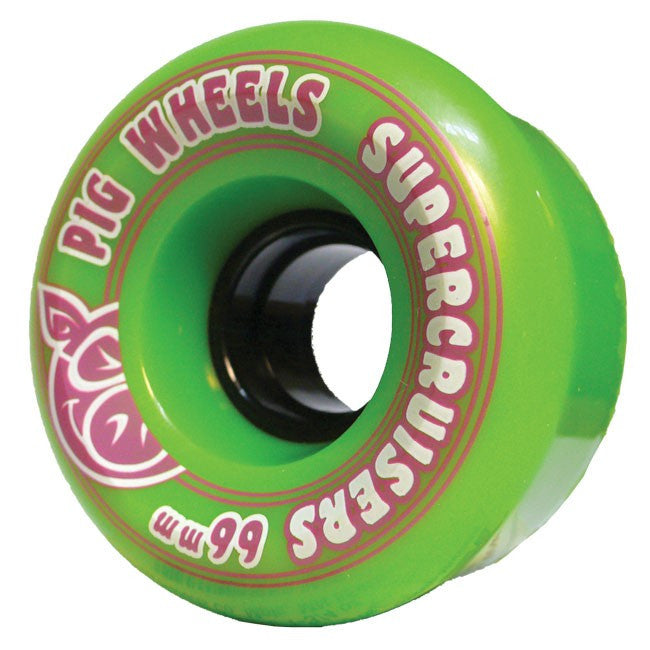 Pig Supercruiser II Skateboard Wheels 66mm 85a - Green (Set of 4)