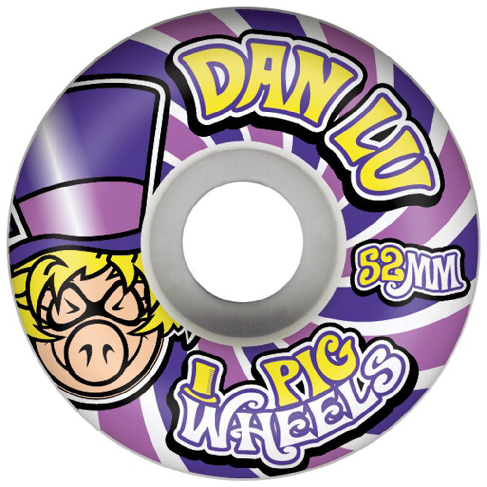 Pig Daniel Lutheran Wonka Skateboard Wheels - White - 52mm 101a (Set of 4)