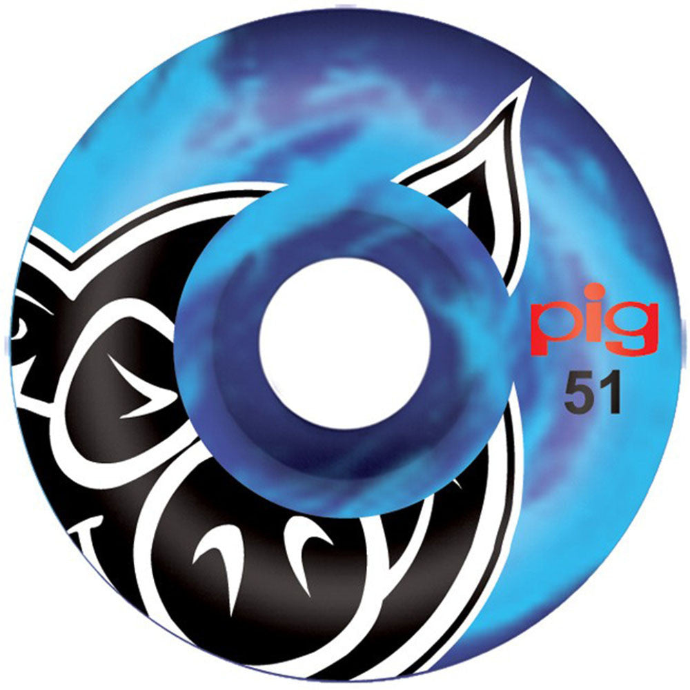 Pig Head Swirl Skateboard Wheels - Blue - 51mm 101a (Set of 4)