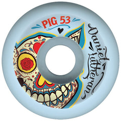 Pig Dan Lu Day Of The Dead Skateboard Wheels - Blue - 53mm (Set of 4)