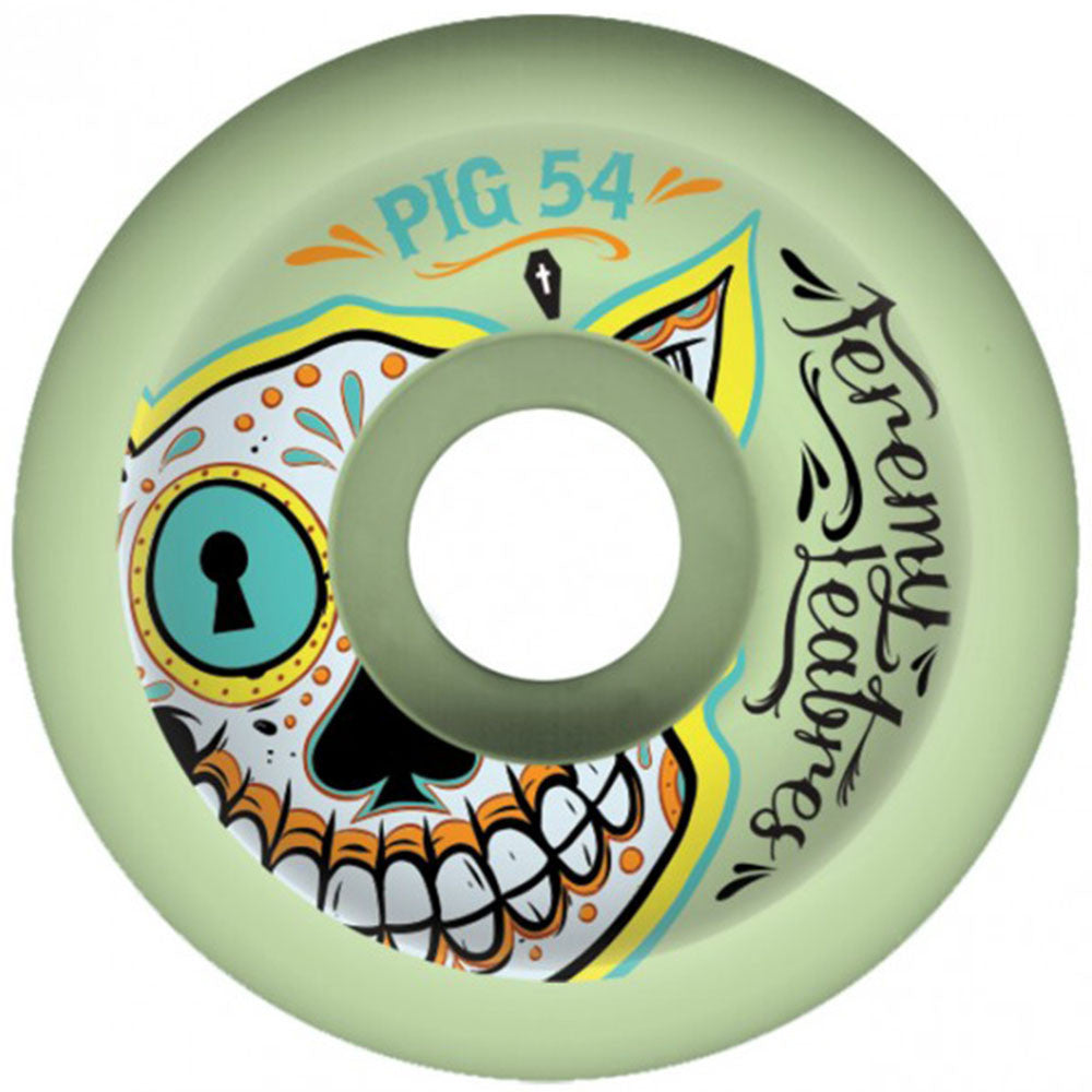 Pig Leabres Day Of The Dead Skateboard Wheels - Green - 54mm (Set of 4)