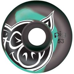 Pig Head Swirls Skateboard Wheels - Teal/Grey - 53mm (Set of 4)