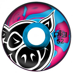 Pig Head Swirls Skateboard Wheels - Pink/Blue - 52mm 101a (Set of 4)