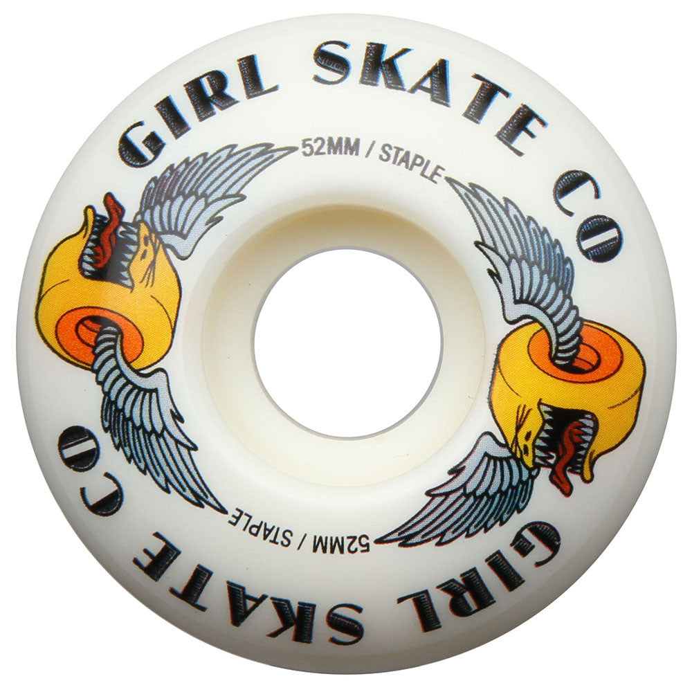 Girl Biter Skateboard Wheels - White - 52mm (Set of 4)