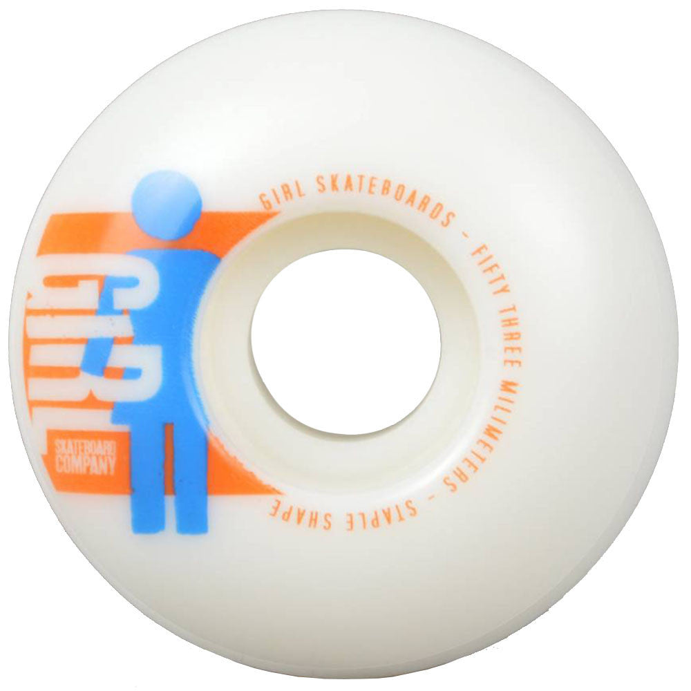 Girl Spike It! Skateboard Wheels - White - 53mm (Set of 4)
