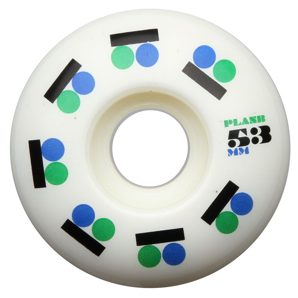 Plan B Iconic PP Skateboard Wheels - White - 53mm (Set of 4)