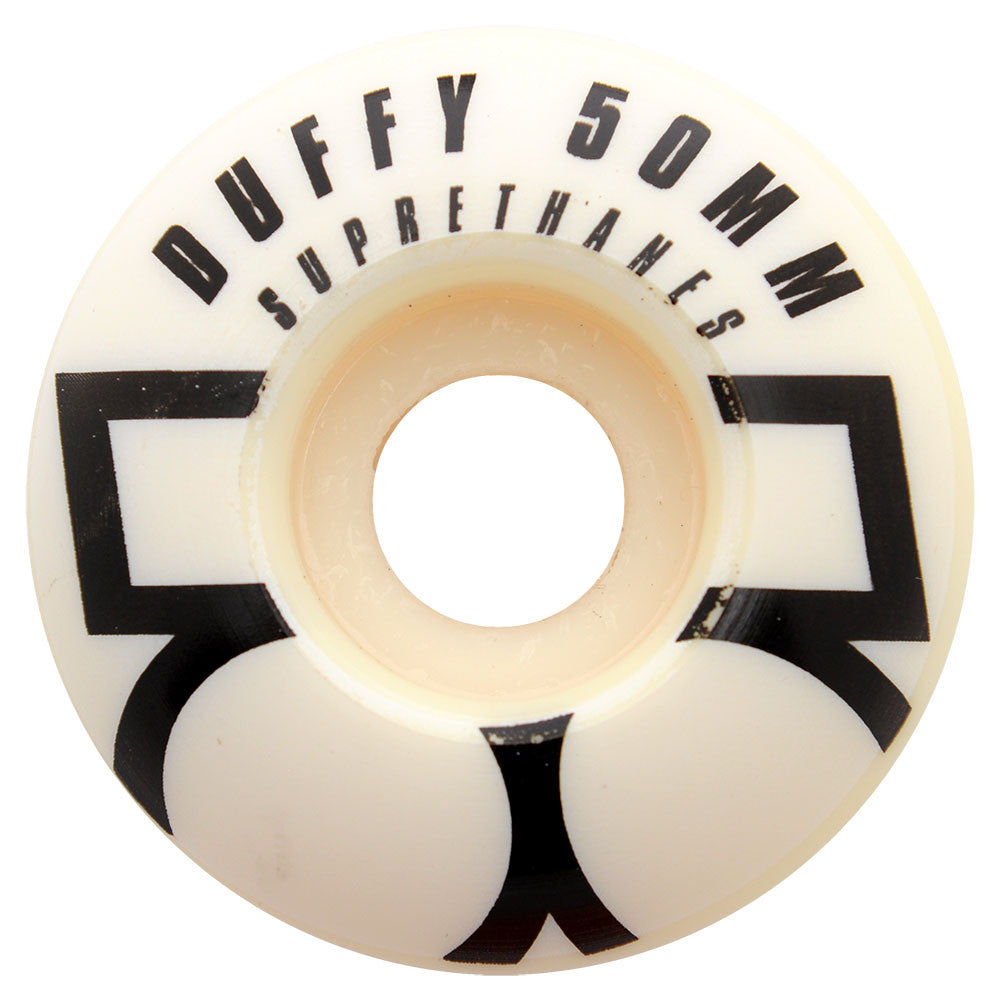 Plan B Pat Duffy Suprethanes Skateboard Wheels - White - 50mm (Set of 4)