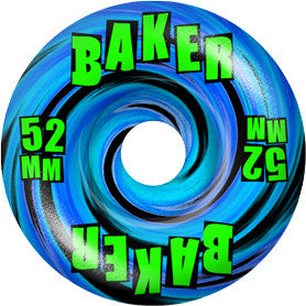 Baker Brand Logo Swirl Skateboard Wheels 52mm - Blue/Green (Set of 4)