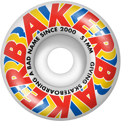 Baker Swipe Skateboard Wheels - Red/Yellow/Blue - 51mm (Set of 4)