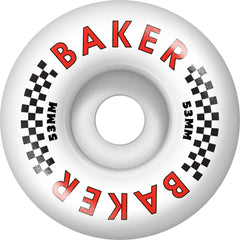 Baker Flag Skateboard Wheels - White - 53mm (Set of 4)