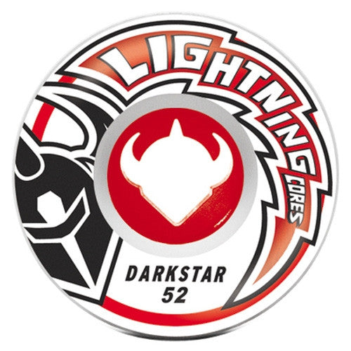 Darkstar Strike Lightning Core Skateboard Wheels 52mm 98a - Red/White/Black (Set of 4)