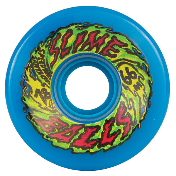 Santa Cruz SlimeBall Skateboard Wheels 66mm 78a - Neon Blue (Set of 4)
