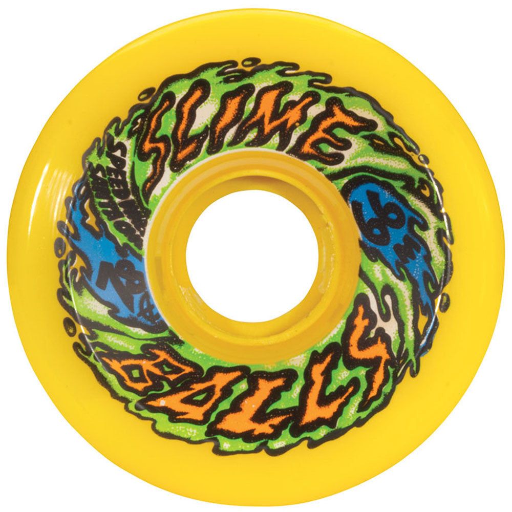Santa Cruz Slime Balls Skateboard Wheels - Neon Yellow - 66mm 78a (Set of 4)
