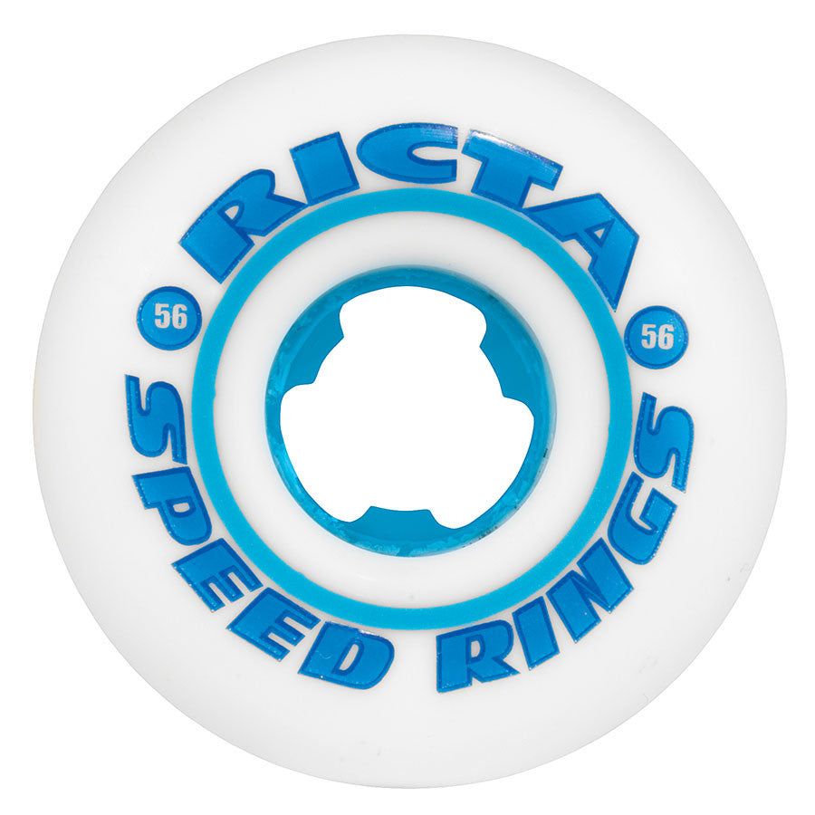 Ricta Speedrings Skateboard Wheels 56mm 81b - White/Cyan (Set of 4)