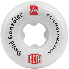 Ricta David Gonzalez Pro NRG Skateboard Wheels - White - 53mm 81b (Set of 4)