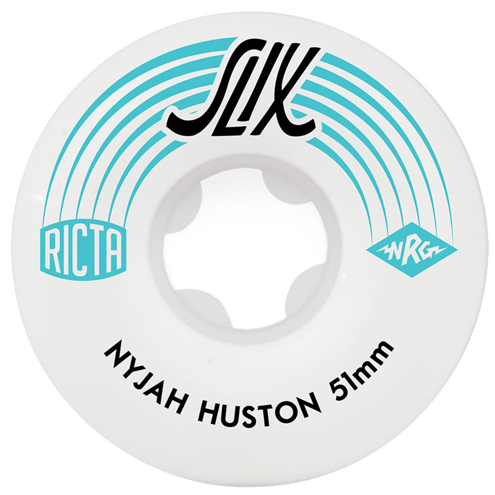 Ricta Nyjah Huston SLIX Skateboard Wheels - White - 51mm 81b (Set of 4)