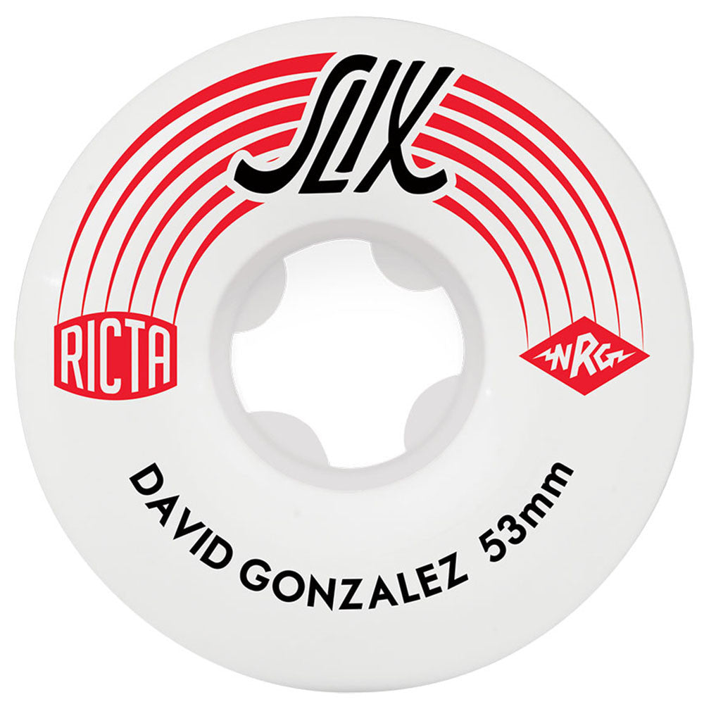 Ricta David Gonzalez SLIX Skateboard Wheels - White - 53mm 81b (Set of 4)