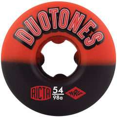 Ricta Duo Tones Skateboard Wheels - Red/Black - 54mm 98a (Set of 4)