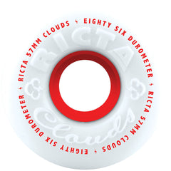 Ricta CLOUDS Skateboard Wheels - White/Red - 57mm 86a (Set of 4)