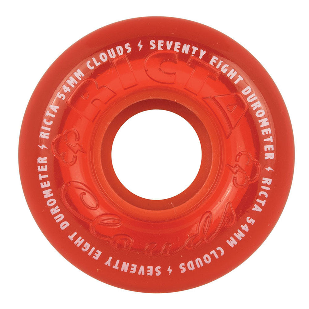 Ricta Crystal Clouds Skateboard Wheels - Red - 54mm 78a (Set of 4)