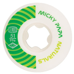 Ricta Micky Papa Pro Naturals Skateboard Wheels - White/Green - 51mm 99a (Set of 4)