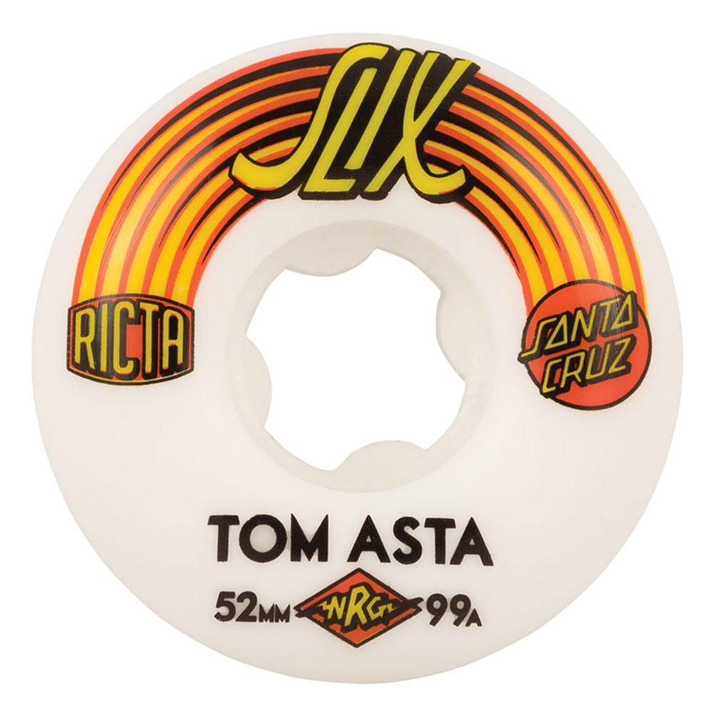 Ricta Tom Asta SC Slix Skateboard Wheels - White/Orange - 52mm 99a (Set of 4)