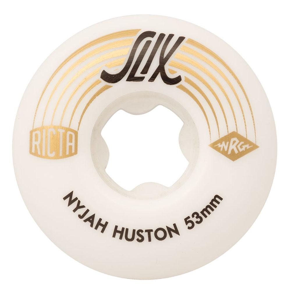 Ricta Nyjah Huston Slix Skateboard Wheels - White/Gold - 53mm 99a (Set of 4)