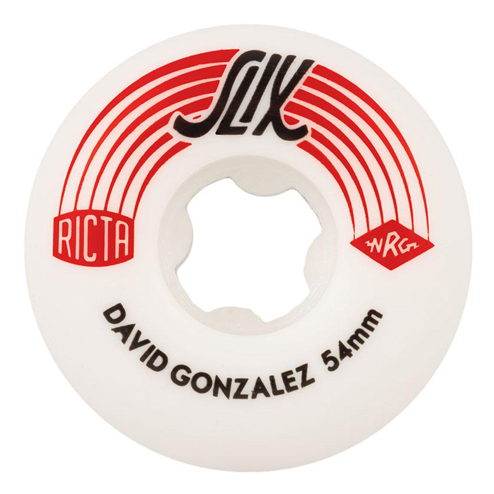 Ricta David Gonzalez Pro Slix Skateboard Wheels - White/Red - 54mm 99a (Set of 4)