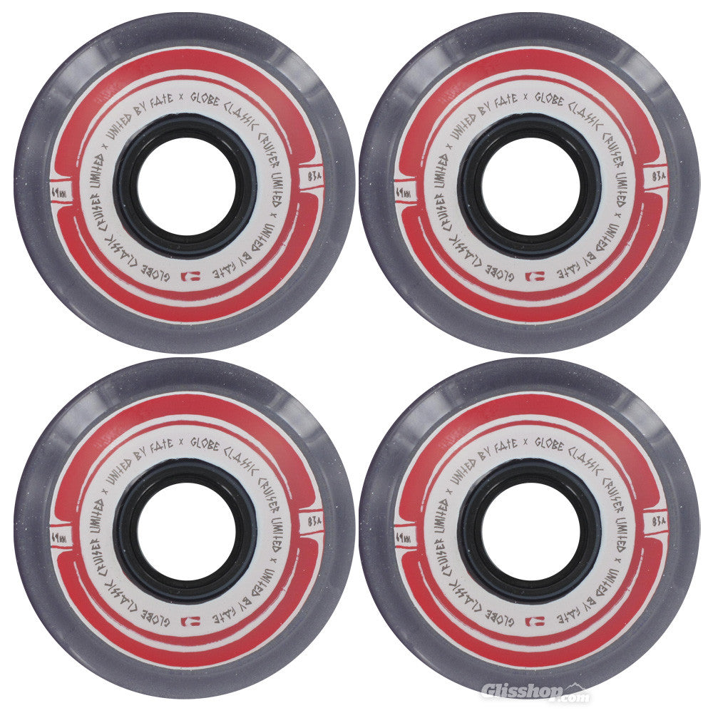 Globe Steam Roller Skateboard Wheels 69mm 83a - Clear/Black/Red (Set of 4)