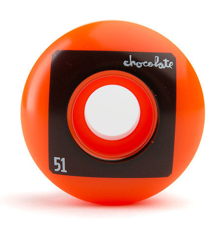 Chocolate Fluorescent Square Skateboard Wheels 51mm - Orange (Set of 4)