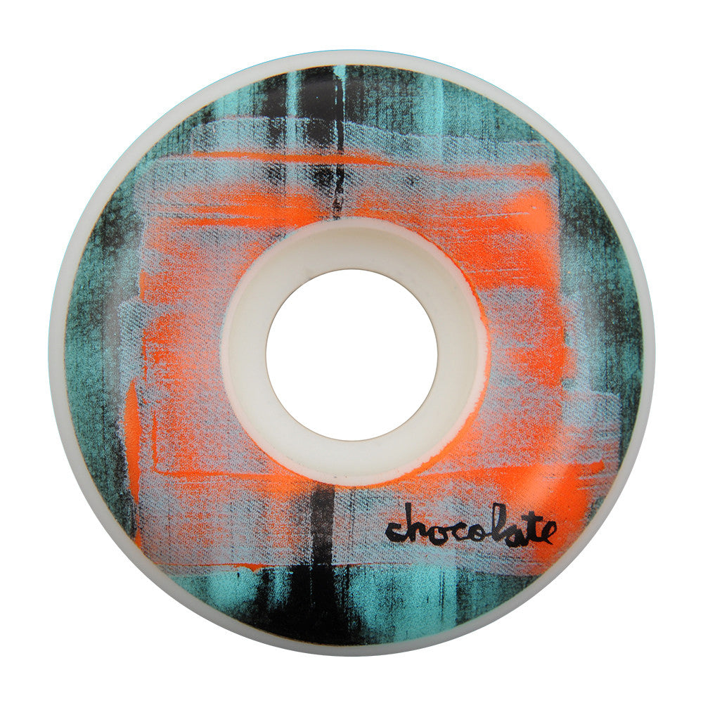 Chocolate Subtle Square Skateboard Wheels - Teal/Orange - 54mm (Set of 4)
