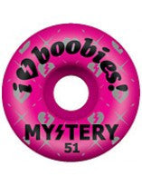 Mystery I Heart Boobies Skateboard Wheel 53mm - Pink (Set of 4)