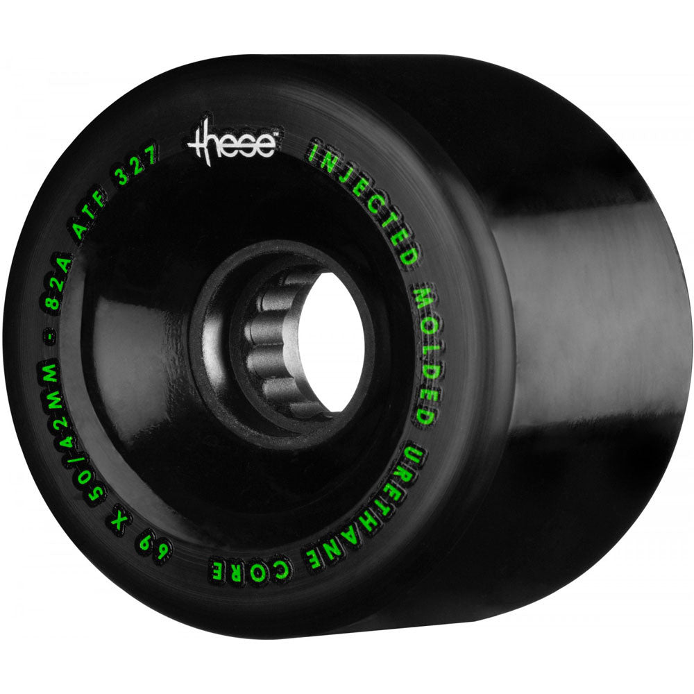 These ATF Centerset 327 Skateboard Wheels - Black - 69mm 82a (Set of 4)