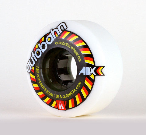 Autobahn ABX Skateboard Wheels 53mm 101a - White (Set of 4)