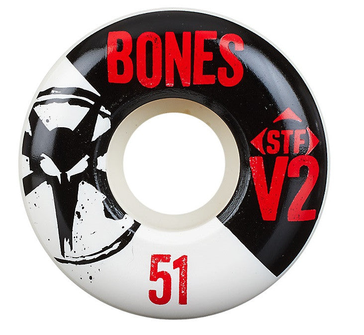 Bones STF V2 Series Skateboard Wheels - White - 51mm 83b (Set of 4)