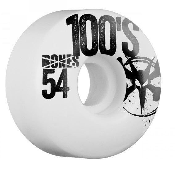 Bones O.G. 100's V1 Skateboard Wheels 54mm - White (Set of 4)