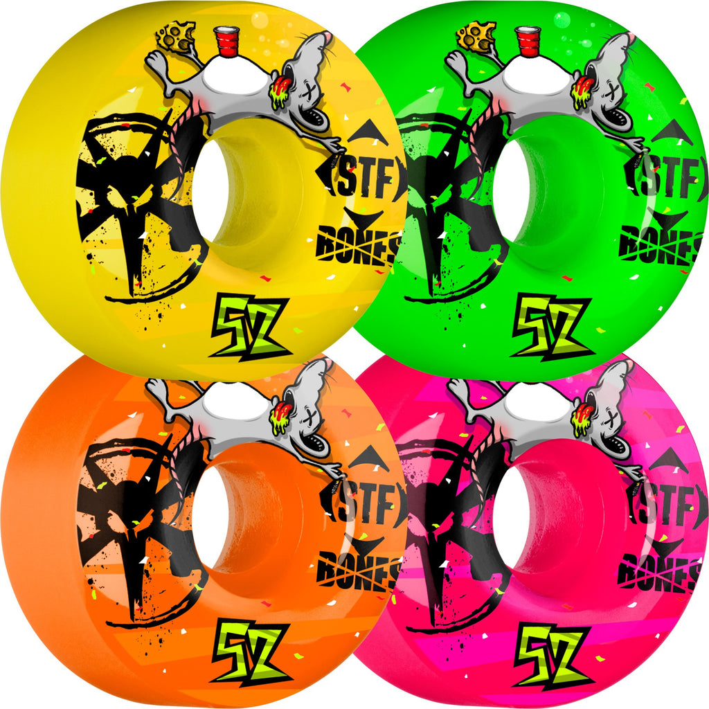 Bones STF Party Pack Skateboard Wheels 52mm 83b - Assorted (Set of 4)