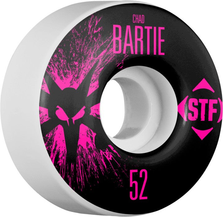 Bones STF V3 Pro Bartie Team Splat Skateboard Wheels 52mm 83b - White (Set of 4)
