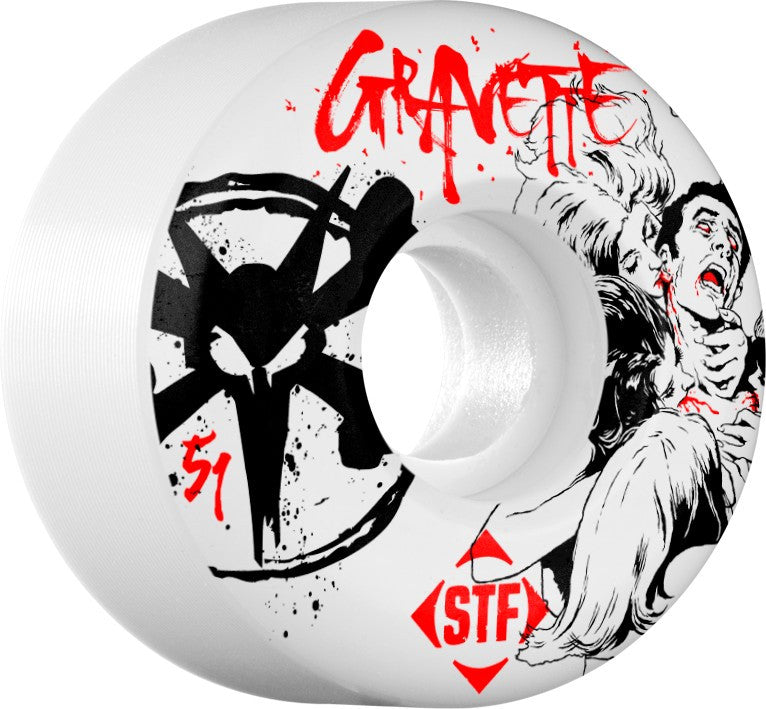 Bones STF V2 Pro Gravette Killers Skateboard Wheels 51mm 83b - White (Set of 4)