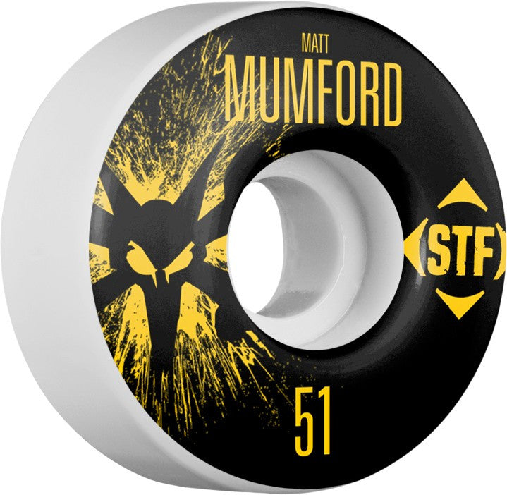 Bones STF V1 Pro Mumford Team Splat Skateboard Wheels 51mm 83b - White (Set of 4)