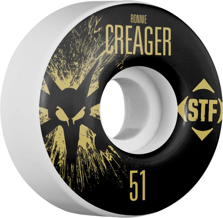 Bones STF V1 Pro Creager Team Splat Skateboard Wheels 51mm 83b - White (Set of 4)