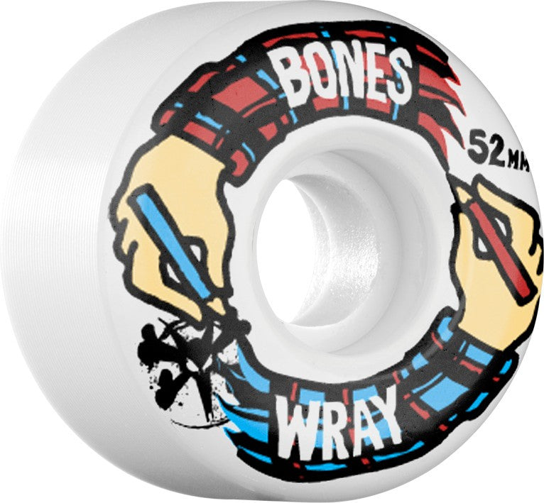 Bones STF V3 Wray Hands Skateboard Wheels 52mm - White (Set of 4)