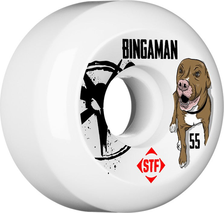 Bones STF V5 Bingaman Tank Skateboard Wheels 55mm - White (Set of 4)